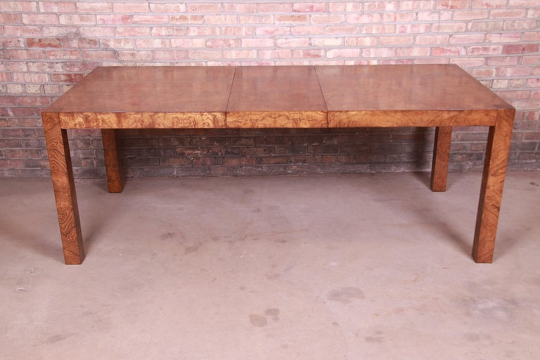 Milo Baughman Style Burl Wood Parsons Extension Dining Table by Lane, Refinished 6
