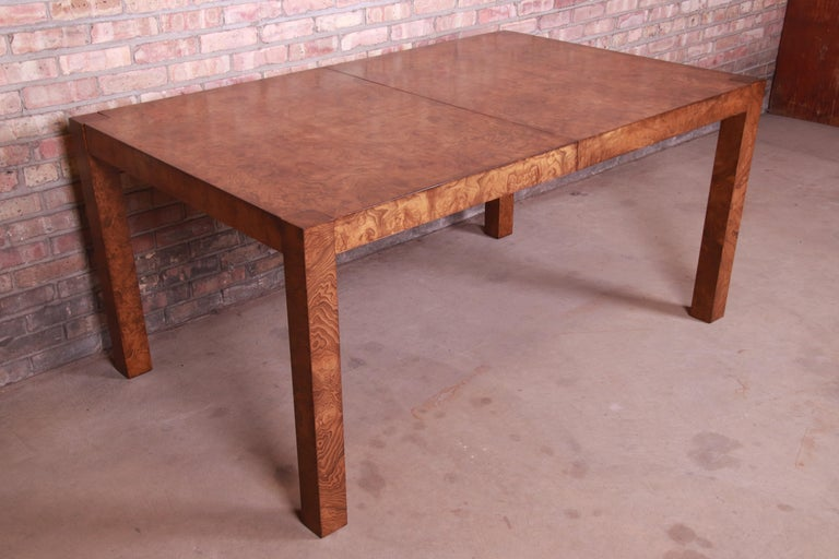 Mid-Century Modern Milo Baughman Style Burl Wood Parsons Extension Dining Table by Lane, Refinished