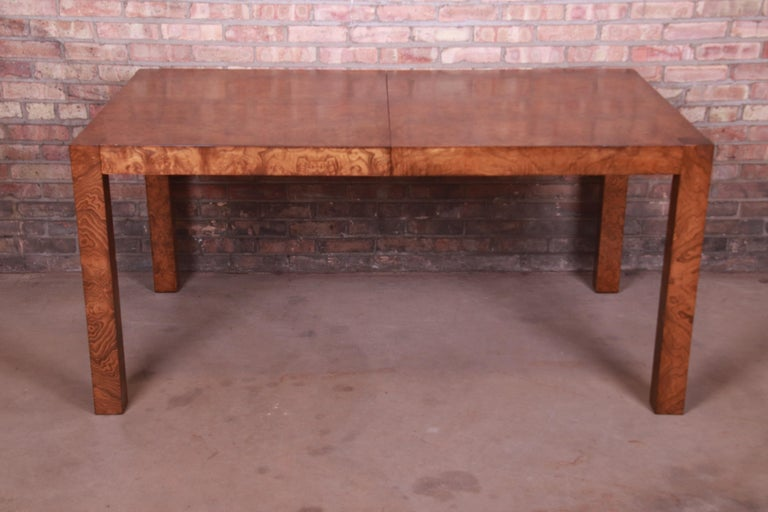 American Milo Baughman Style Burl Wood Parsons Extension Dining Table by Lane, Refinished