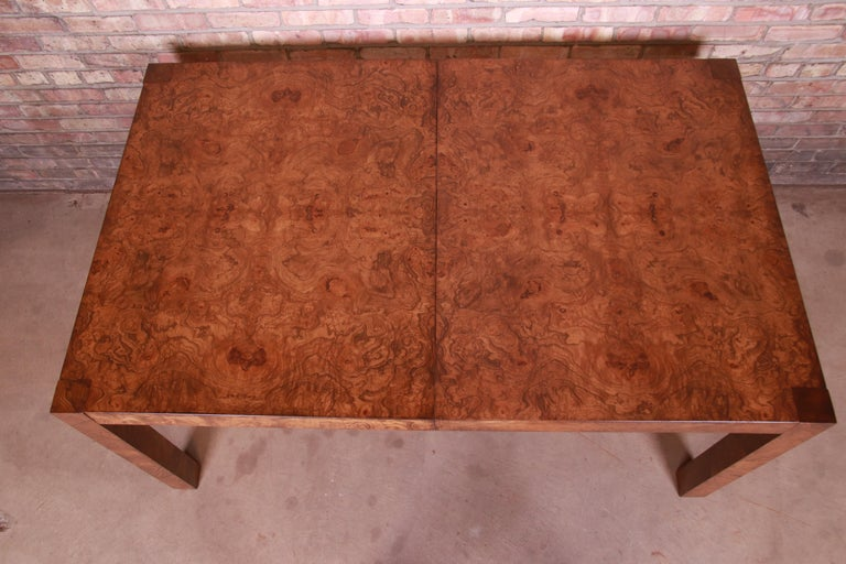 Late 20th Century Milo Baughman Style Burl Wood Parsons Extension Dining Table by Lane, Refinished