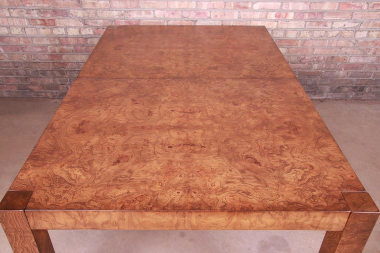 Milo Baughman Style Burl Wood Parsons Extension Dining Table by Lane, Refinished 3