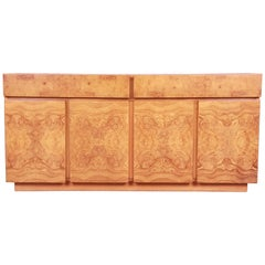 Milo Baughman Style Burl Wood Sideboard Credenza by Lane, Newly Refinished