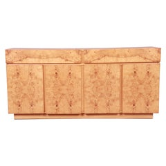 Milo Baughman Style Burl Wood Sideboard or Bar Cabinet by Lane, Newly Refinished