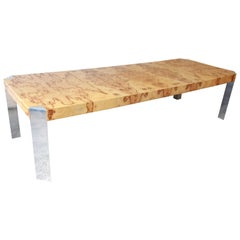 Milo Baughman Style Burled Olive Wood and Chrome Extension Dining Table