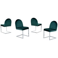 Milo Baughman Style Cantilever Chrome Dining Chairs, 1970s Forest Green Velvet