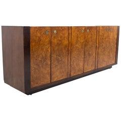 Milo Baughman Style Century Furniture MCM Burlwood Sideboard Buffet Credenza