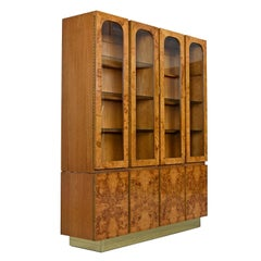 Milo Baughman Style China Hutch Cabinet Burl and Brass Hollywood Regency by Lane