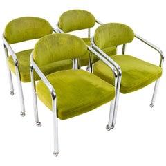 Milo Baughman Style Chromcraft Midcentury Green Chrome Dining Chairs, Set of 4