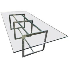 Milo Baughman Style Chrome and Glass 8 Person Dining Table