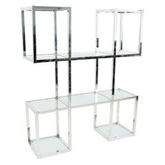 Milo Baughman Style Chrome and Glass Étagère Shelving
