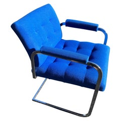 Milo Baughman Style Chrome Armchair