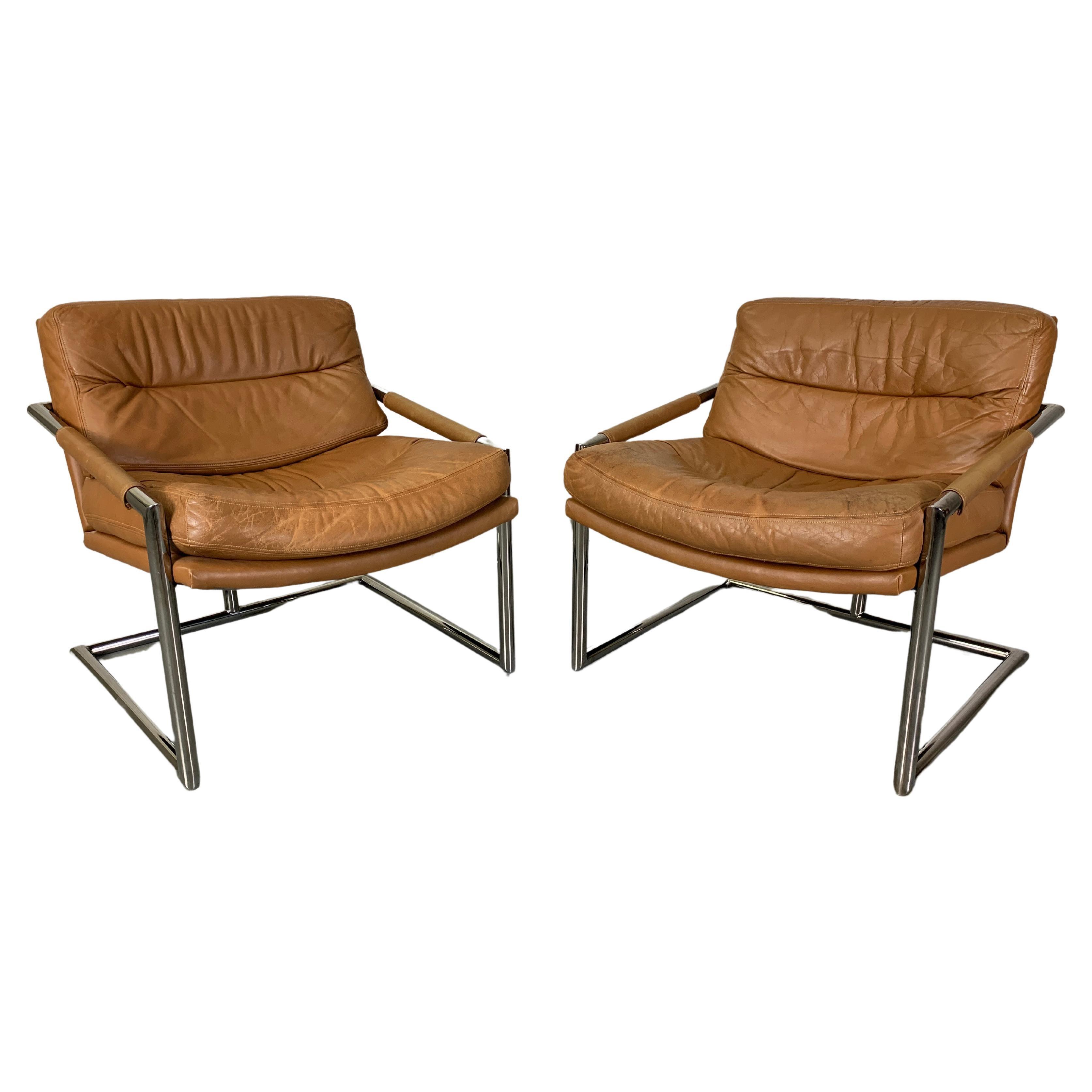 Milo Baughman Style Chrome & Leather Lounge Chairs