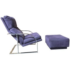 Milo Baughman Style Chrome Lounge Chair and Ottoman