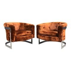 Milo Baughman Style Chrome Lounge Chairs