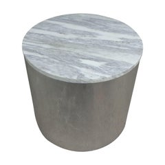 Milo Baughman Style Chrome Marble Drum Table