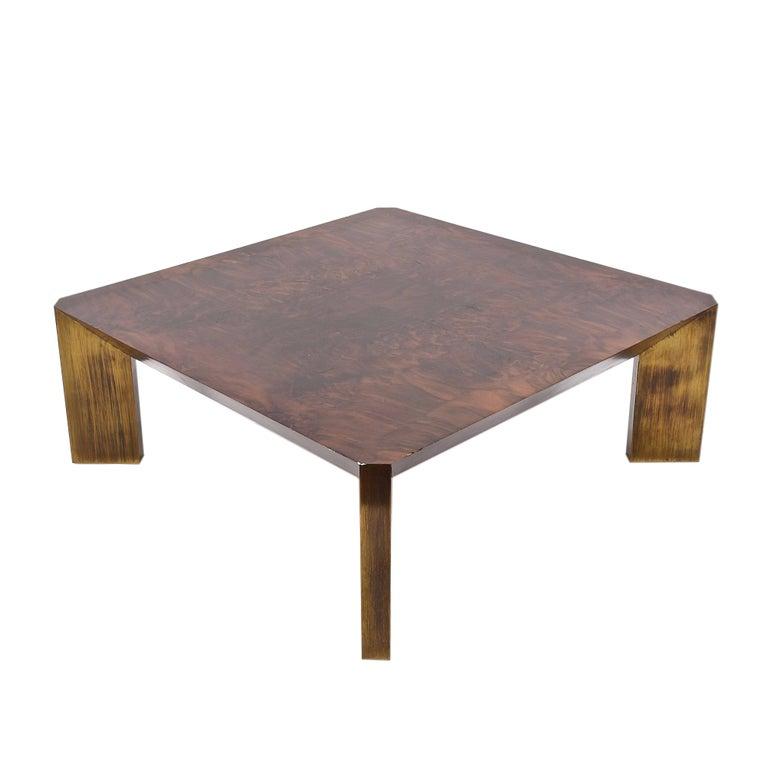 Milo Baughman Style Coffee Table in Walnut, Legs Covered in Brass, 1960s