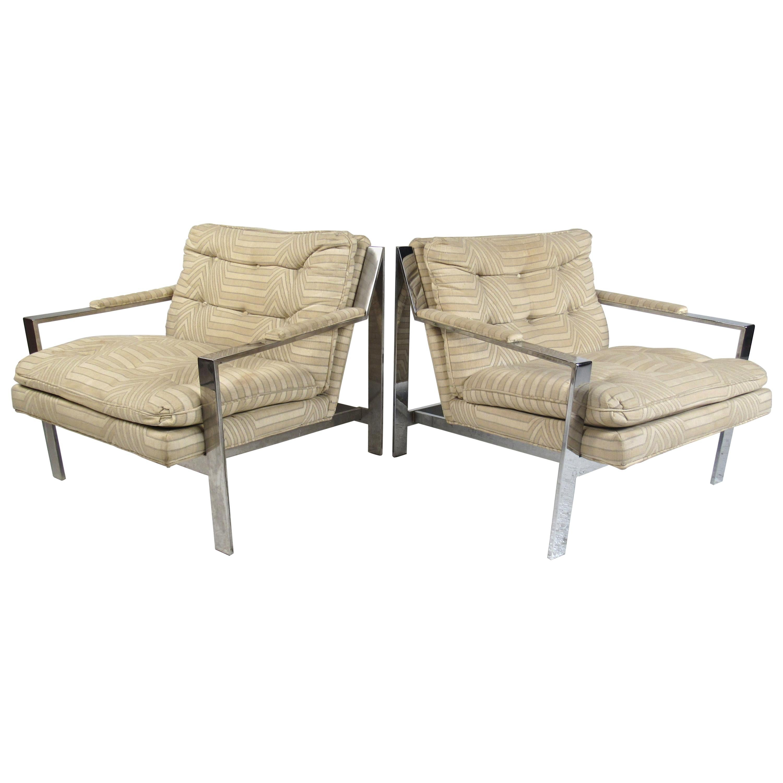 Milo Baughman Style CY Mann Chrome Frame Lounge Chairs