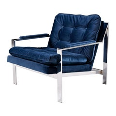 Milo Baughman Style Cy Mann Flat Bar Chrome Lounge Chair, New Navy Blue Velvet