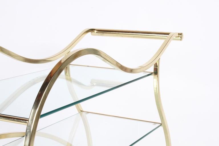 Hollywood Regency Design Institute of America Brass & Glass Sculptural Bar Cart  For Sale 4