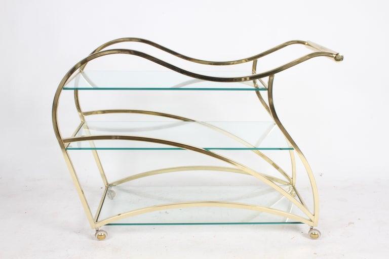 Hollywood Regency Design Institute of America Brass & Glass Sculptural Bar Cart  For Sale 6