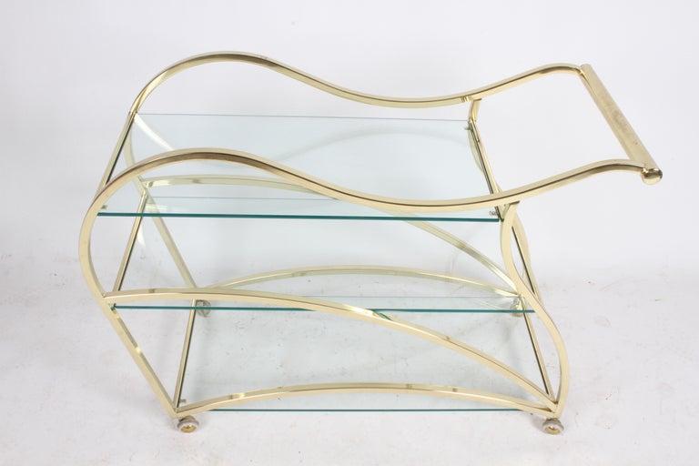 Hollywood Regency Design Institute of America Brass & Glass Sculptural Bar Cart  For Sale 7