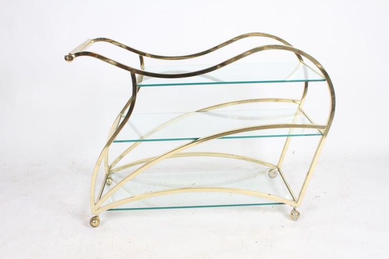 Hollywood Regency Design Institute of America Brass & Glass Sculptural Bar Cart  For Sale 8