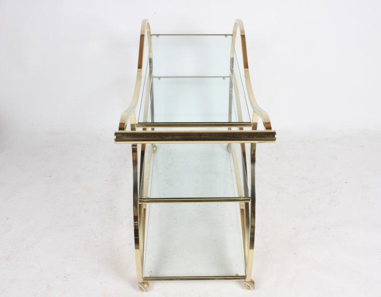 Hollywood Regency Design Institute of America Brass & Glass Sculptural Bar Cart  For Sale 9
