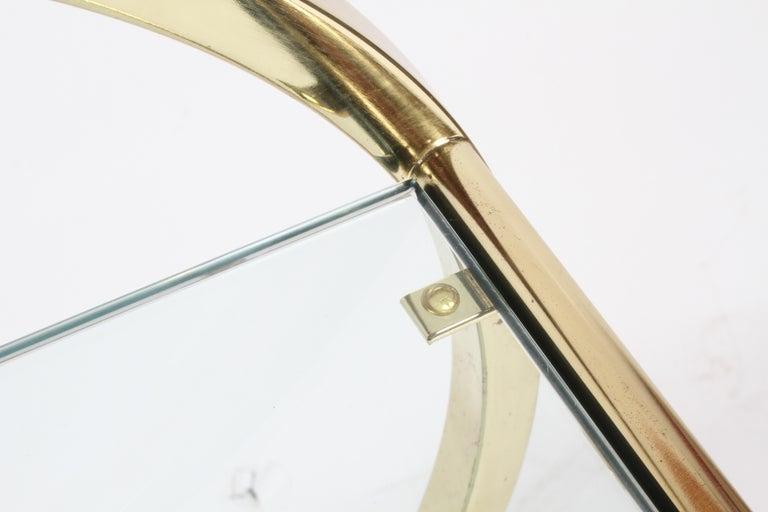 Hollywood Regency Design Institute of America Brass & Glass Sculptural Bar Cart  For Sale 10