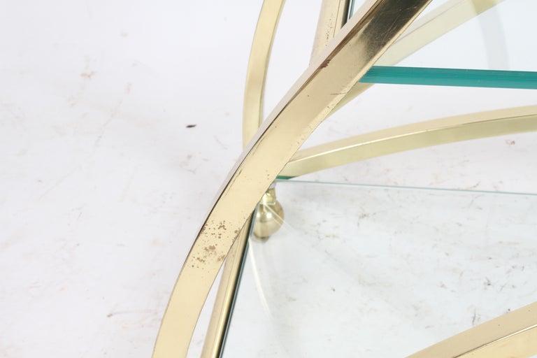 Hollywood Regency Design Institute of America Brass & Glass Sculptural Bar Cart  For Sale 11