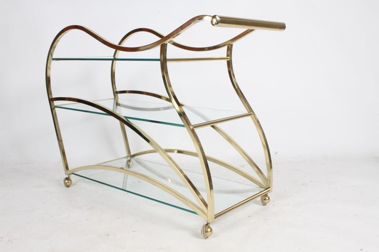 Hollywood Regency Design Institute of America Brass & Glass Sculptural Bar Cart  In Good Condition For Sale In St. Louis, MO