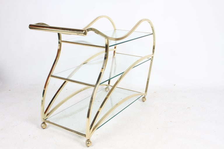 Late 20th Century Milo Baughman Style DIA Brass Sculptural Bar Cart  For Sale