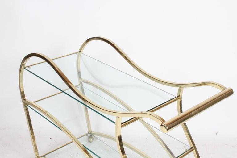 Hollywood Regency Design Institute of America Brass & Glass Sculptural Bar Cart  For Sale 2