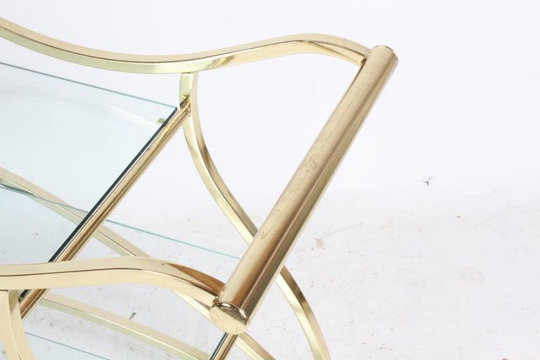 Hollywood Regency Design Institute of America Brass & Glass Sculptural Bar Cart  For Sale 3