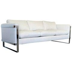 Milo Baughman Style Flat Bar Chrome Frame Sofa