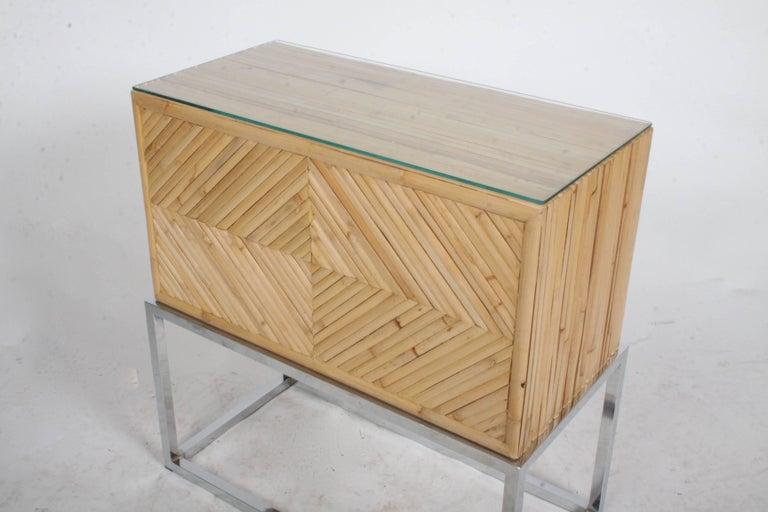 Milo Baughman Style Geometric Bamboo End Table Or