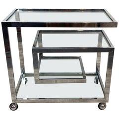 Milo Baughman Style Geometric Chrome Bar Cart