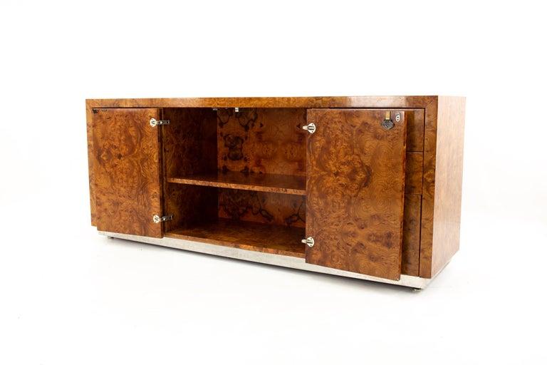 Milo Baughman Style Helikon Midcentury Burl Wood Sideboard Credenza For Sale 4