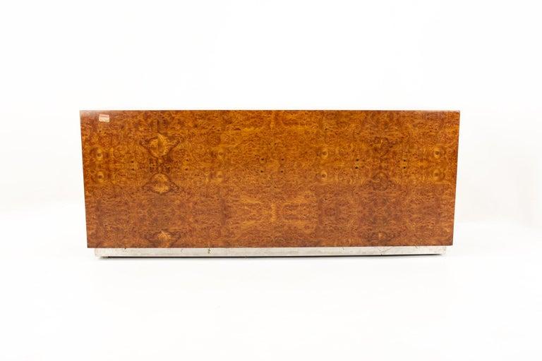 Milo Baughman Style Helikon Midcentury Burl Wood Sideboard Credenza For Sale 5