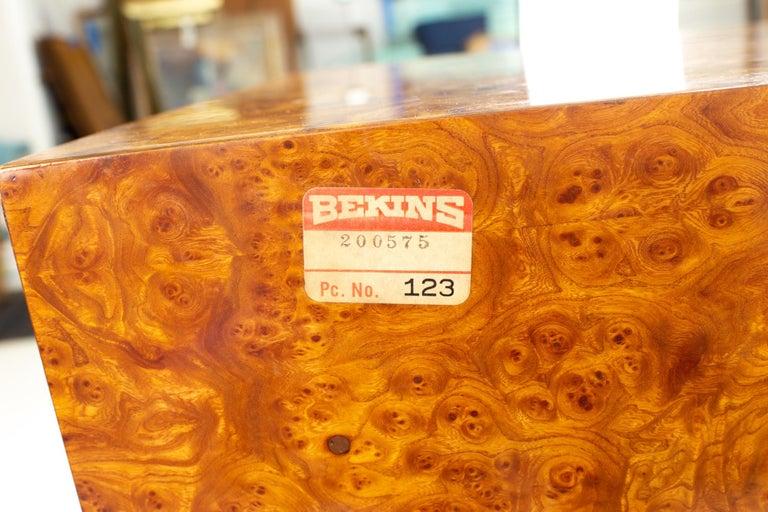 Milo Baughman Style Helikon Midcentury Burl Wood Sideboard Credenza For Sale 7