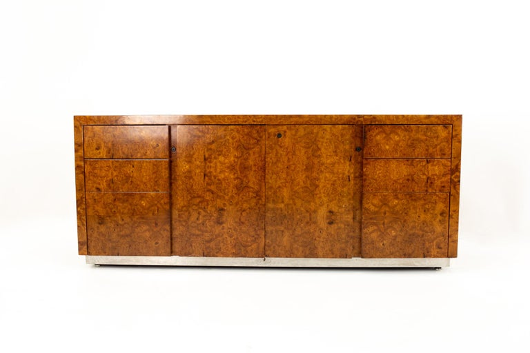 Milo Baughman style Helikon midcentury burl wood sideboard credenza Credenza measures: 72 wide x 19 deep x 27 high  All pieces of furniture can be had in what we call restored vintage condition. That means the piece is restored upon purchase so