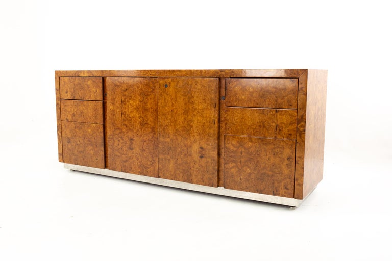 Mid-Century Modern Milo Baughman Style Helikon Midcentury Burl Wood Sideboard Credenza For Sale