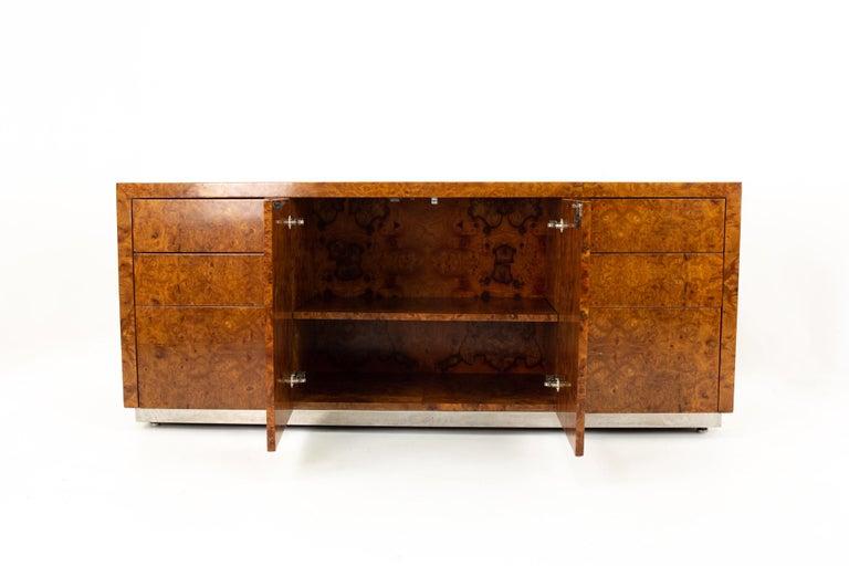 American Milo Baughman Style Helikon Midcentury Burl Wood Sideboard Credenza For Sale