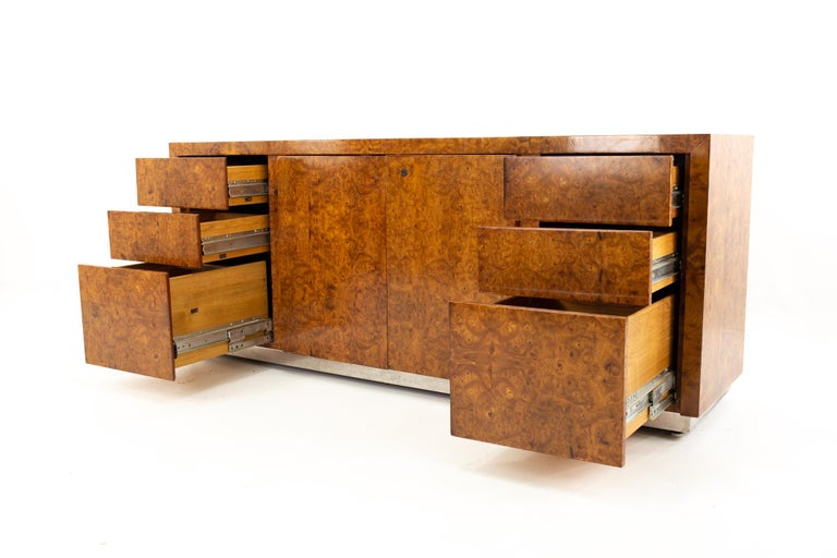 Late 20th Century Milo Baughman Style Helikon Midcentury Burl Wood Sideboard Credenza For Sale