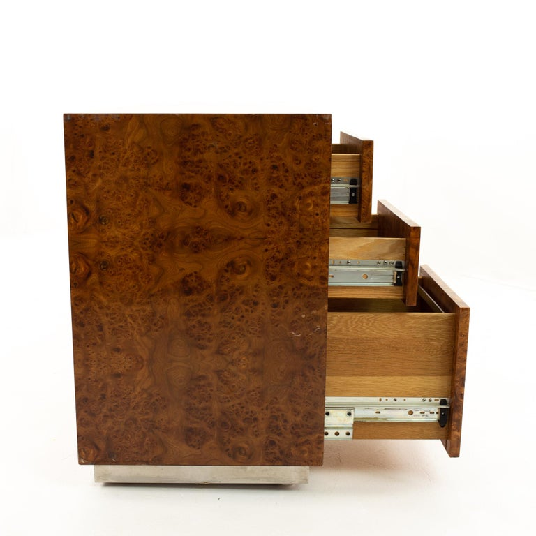 Milo Baughman Style Helikon Midcentury Burl Wood Sideboard Credenza For Sale 1