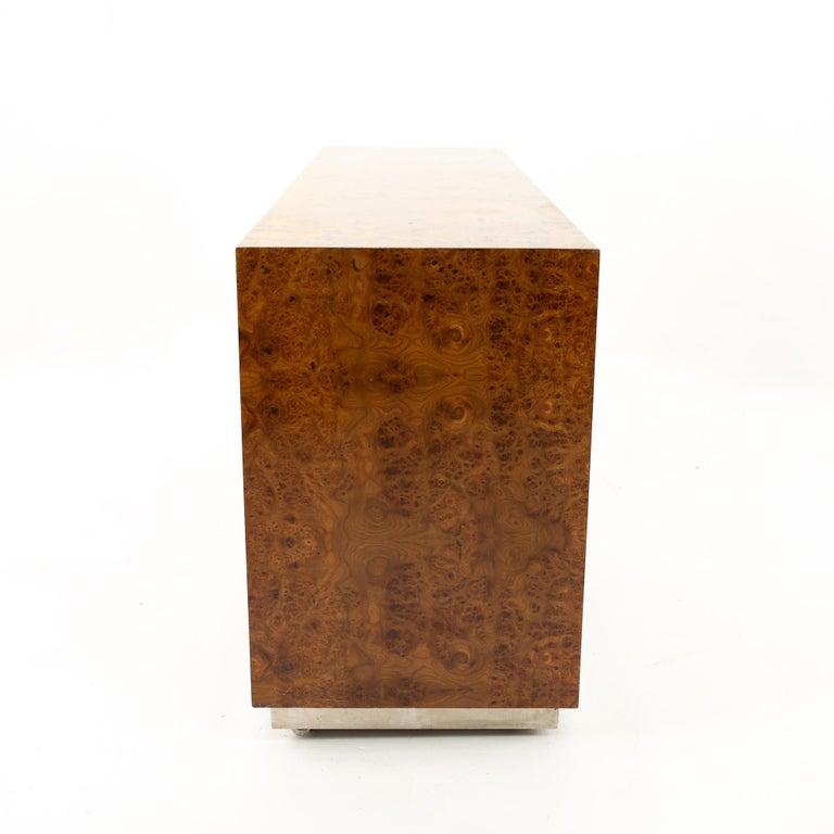 Milo Baughman Style Helikon Midcentury Burl Wood Sideboard Credenza For Sale 2
