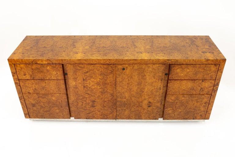 Milo Baughman Style Helikon Midcentury Burl Wood Sideboard Credenza For Sale 3