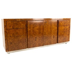 Milo Baughman Style Helikon Midcentury Burl Wood Sideboard Credenza