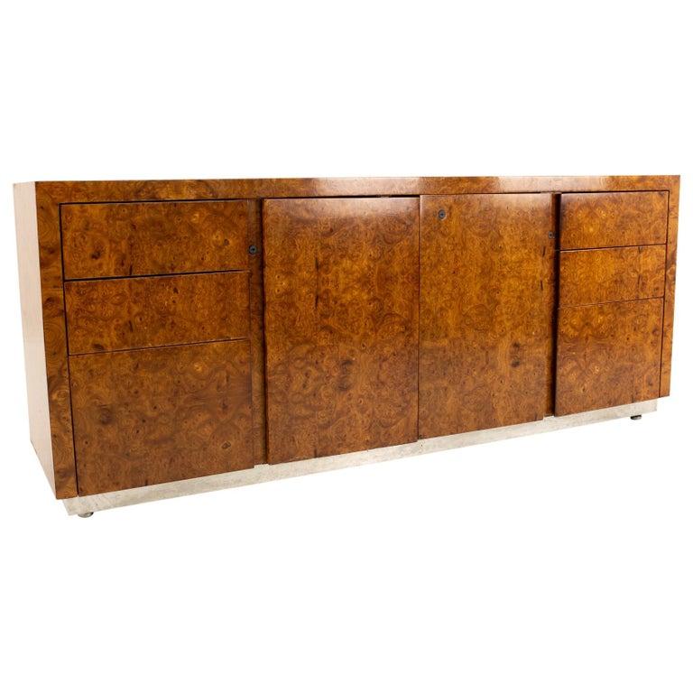 Milo Baughman Style Helikon Midcentury Burl Wood Sideboard Credenza For Sale