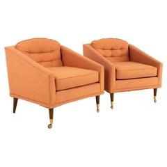 Milo Baughman Style Kroehler Mid Century Lounge Chairs, Pair