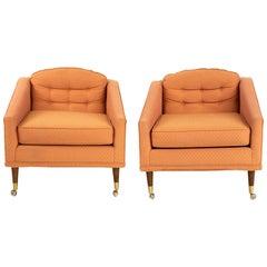 Milo Baughman Style Kroehler Midcentury Lounge Chairs, Pair